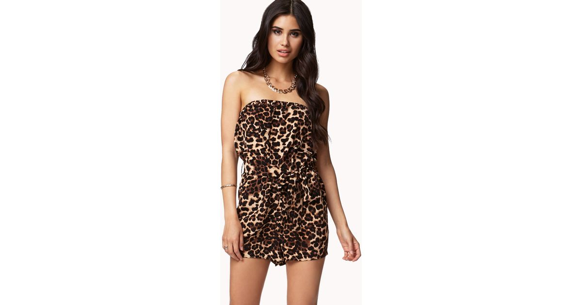 a1fe2e58526 Lyst - Forever 21 Strapless Leopard Print Romper in Brown