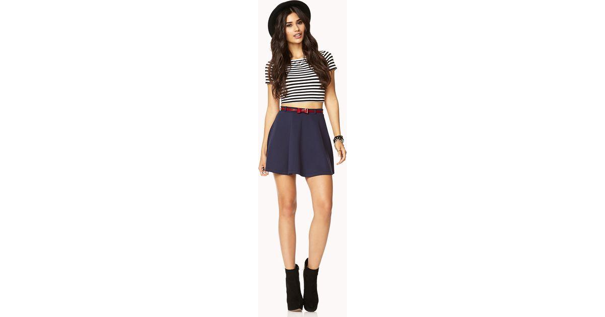 c320f71175 Lyst - Forever 21 Scuba Knit Skater Skirt Wbelt in Blue