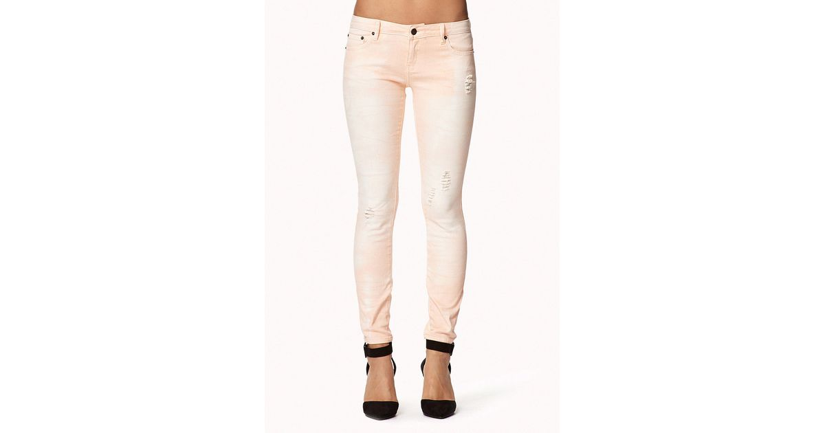 Forever 21 Distressed Colored Skinny Jeans in Pink   Lyst