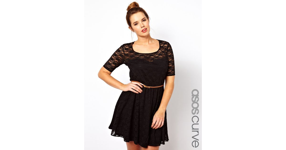 Lyst Asos Curve Lace Skater Dress With Belt And 34 Sleeve In Black