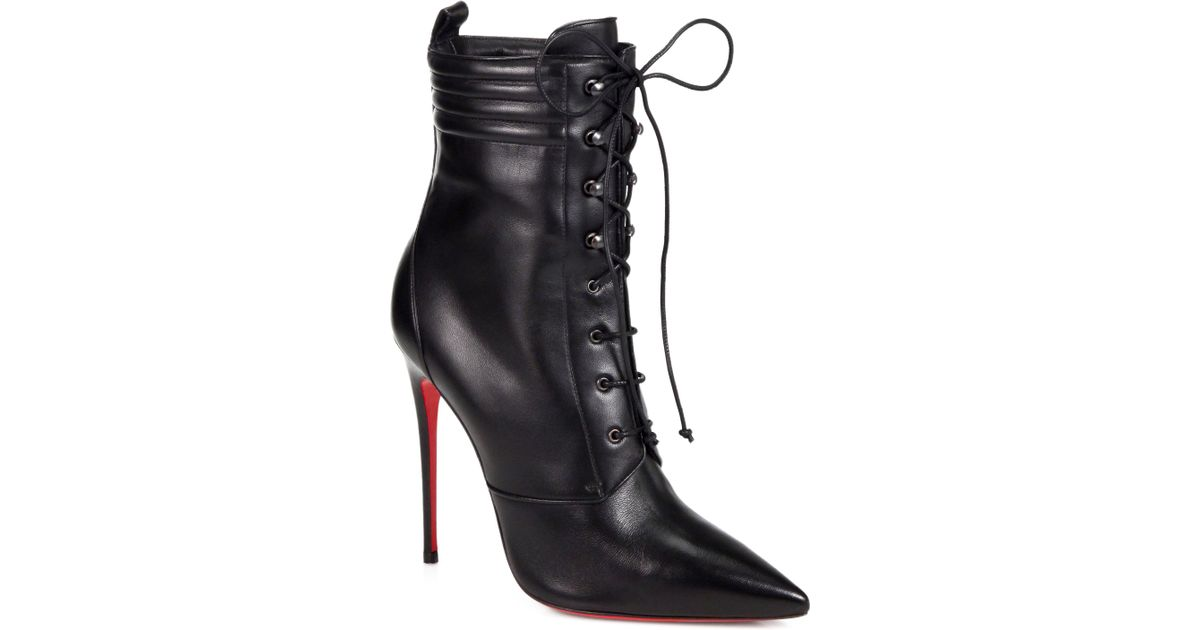 ffa95c02eb9 Lyst - Christian Louboutin Mado Leather Lace up Ankle Boots in Black