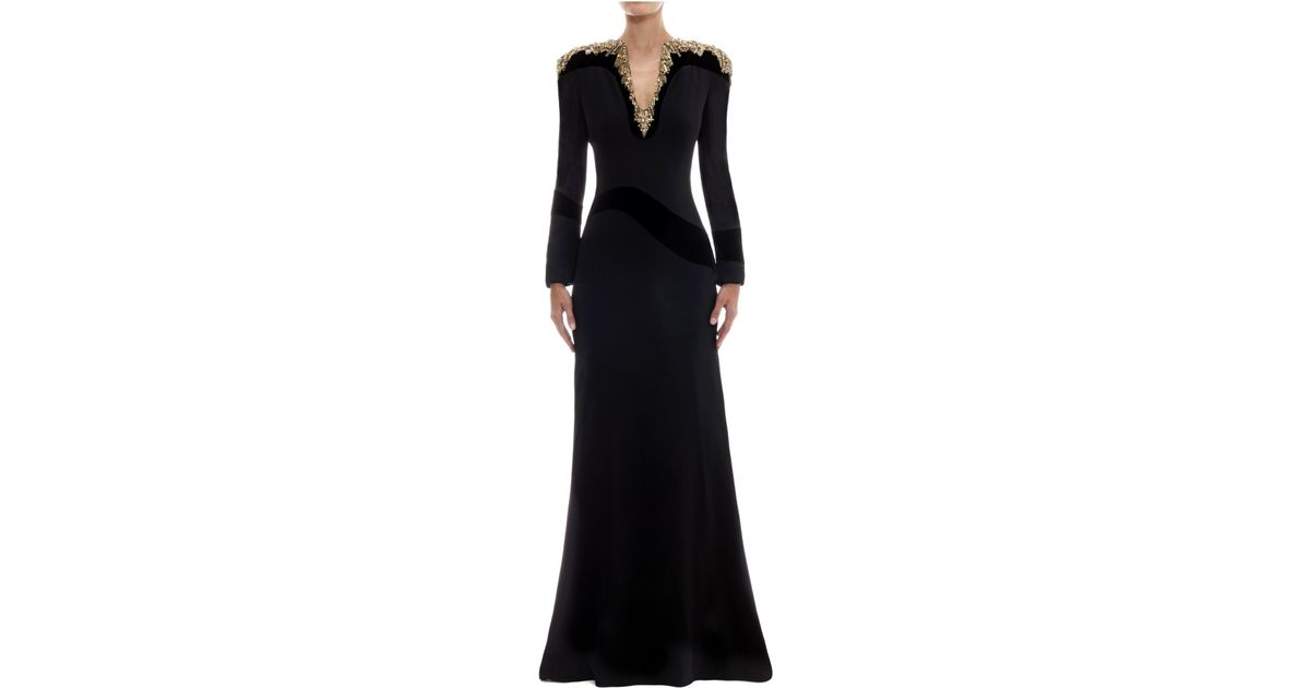 Lyst - Alexander Mcqueen Glory Embellished Floor Length Gown in Black