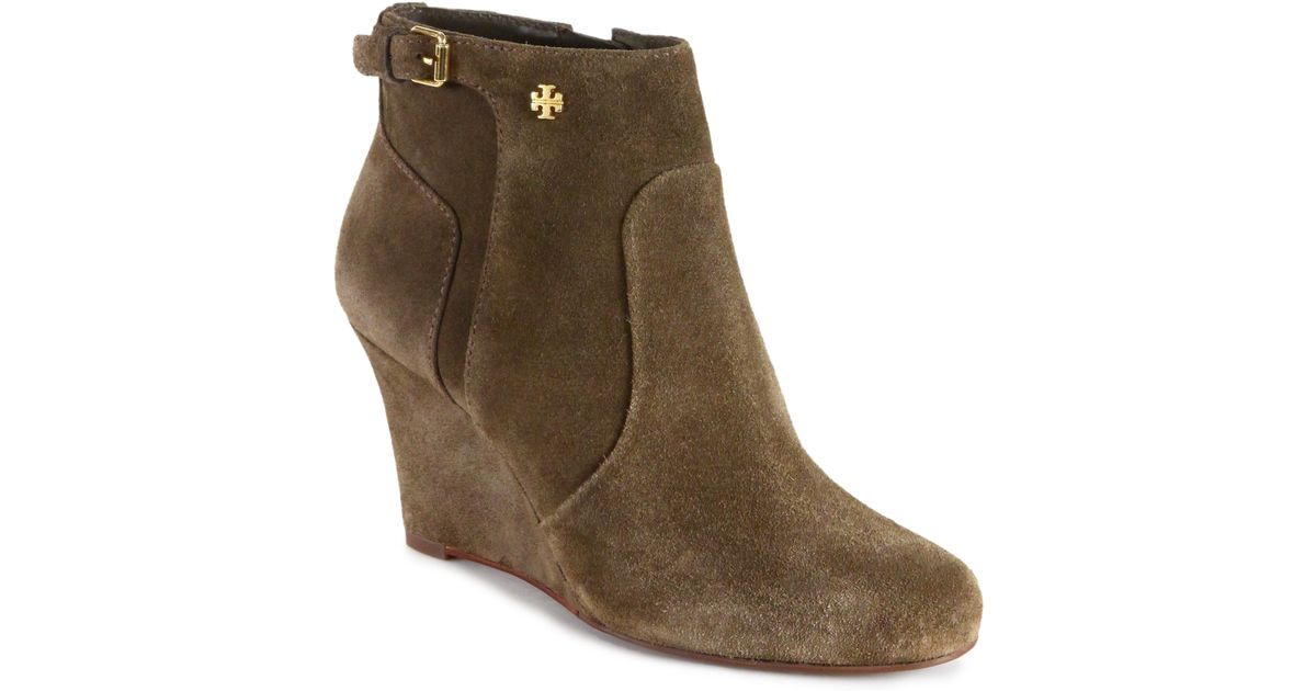 3c049bc6eb0d9b Lyst - Tory Burch Milan Suede Wedge Ankle Boots in Natural