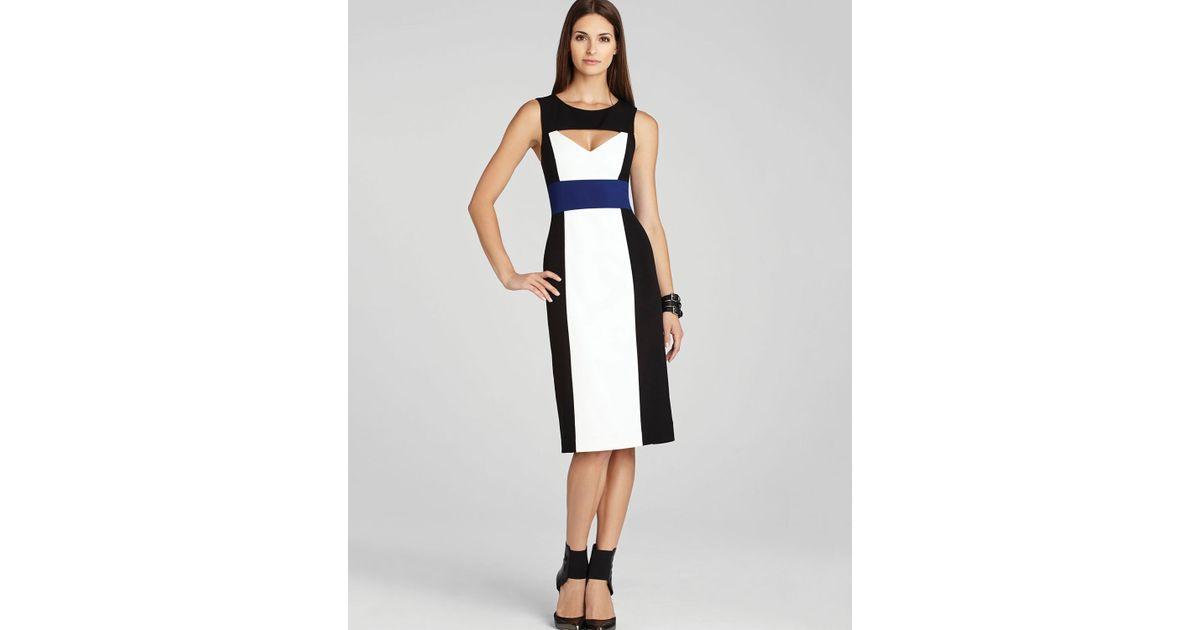 fc9371738a Lyst - BCBGMAXAZRIA Dress Antonella Color Block Sheath in White