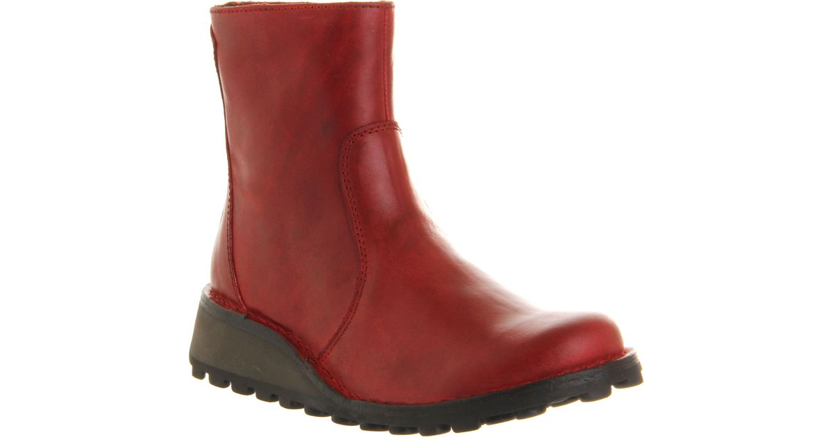 Fly london Masi Low Wedge Ankle Boots in Red | Lyst