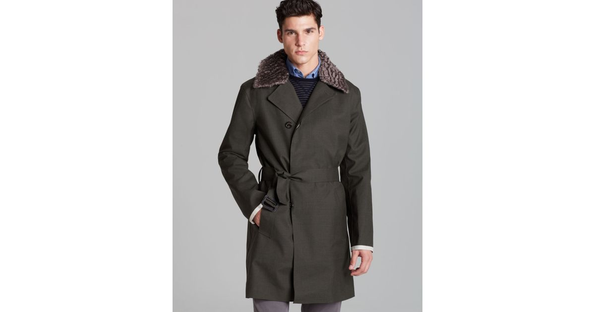 Hancock Doublebreasted Bonded Lightweight Wool Coat in Green for