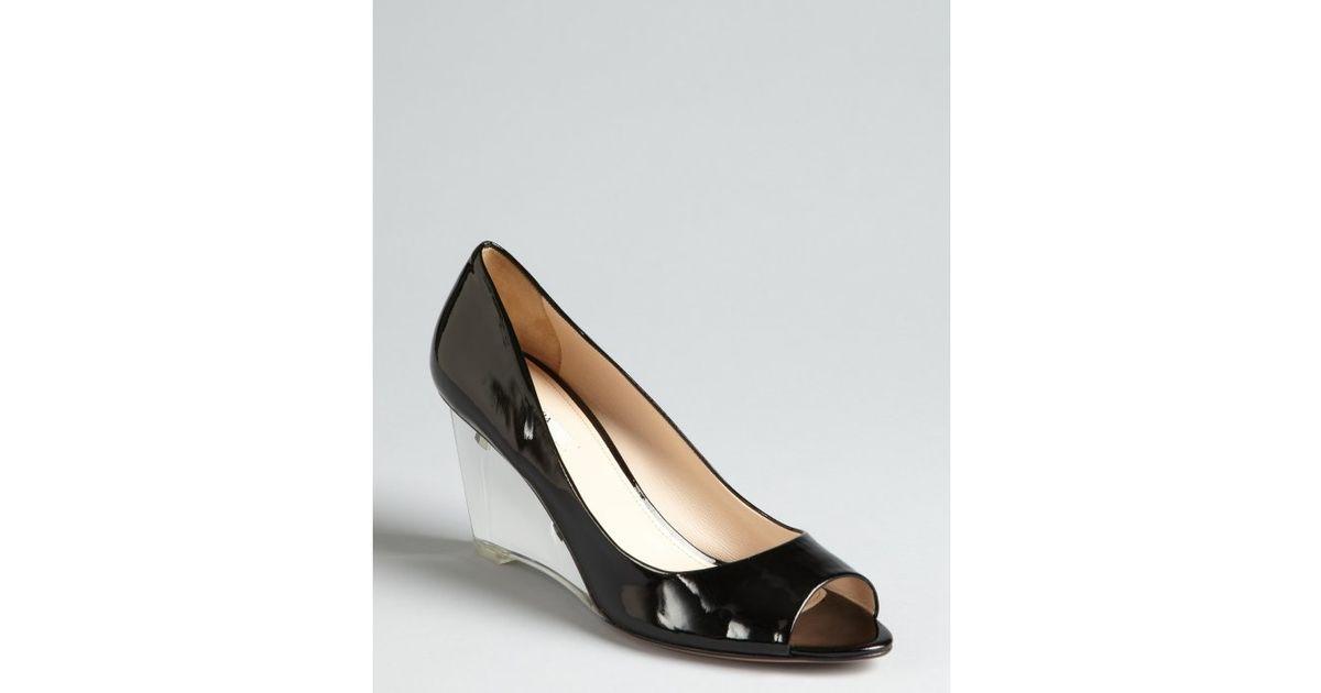 prada shoes black patent leather wedges peep toe