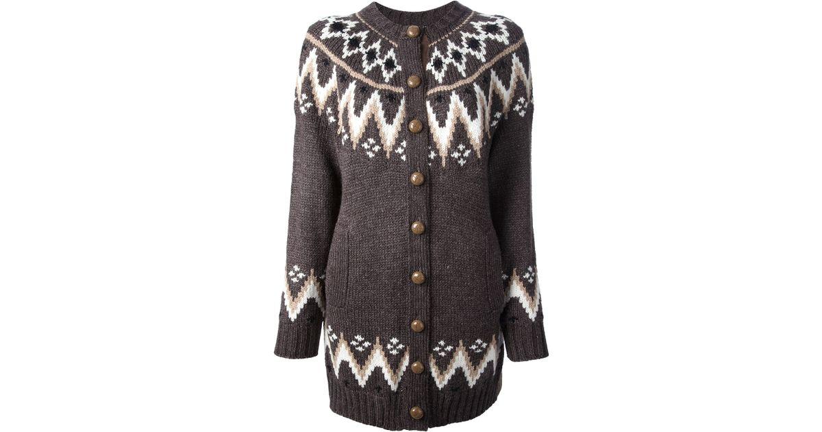 Sacai Sacai Fairisle Knit Cardigan in Gray | Lyst