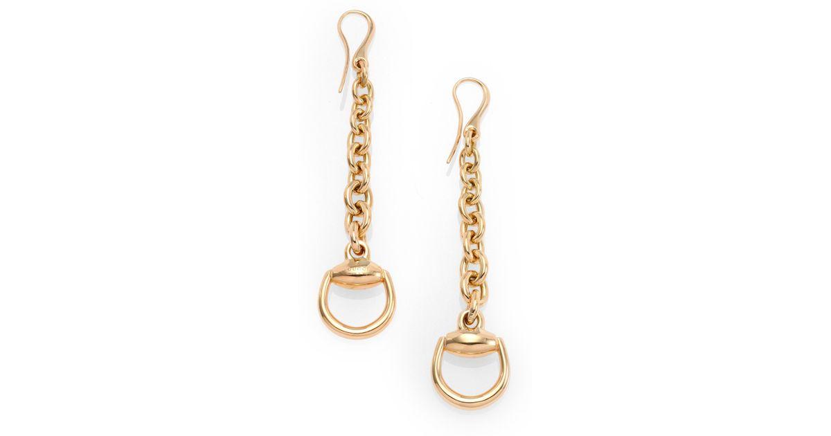 526a761e699 Lyst - Gucci Horsebit 18k Yellow Gold Drop Earrings in Metallic
