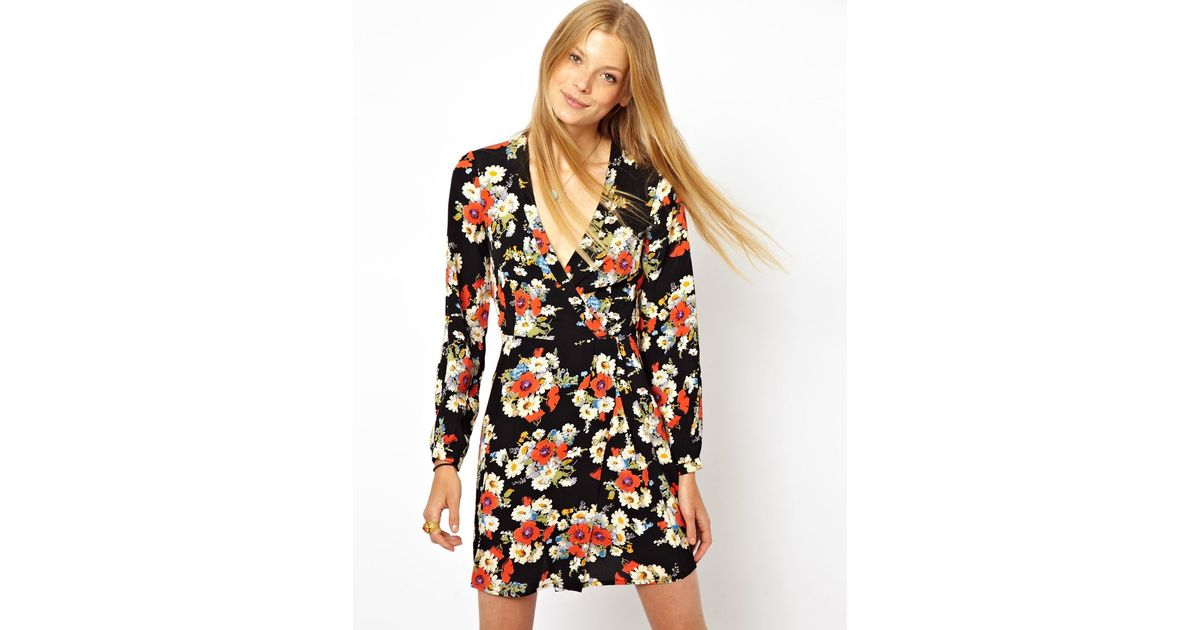 40911ec00f6 ASOS Wrap Dress with Tulip Skirt and Long Sleeves in Floral Print - Lyst