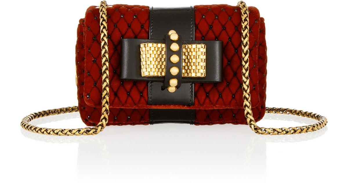 Lyst - Christian Louboutin Sweet Charity Mini Embellished Velvet Shoulder  Bag in Red