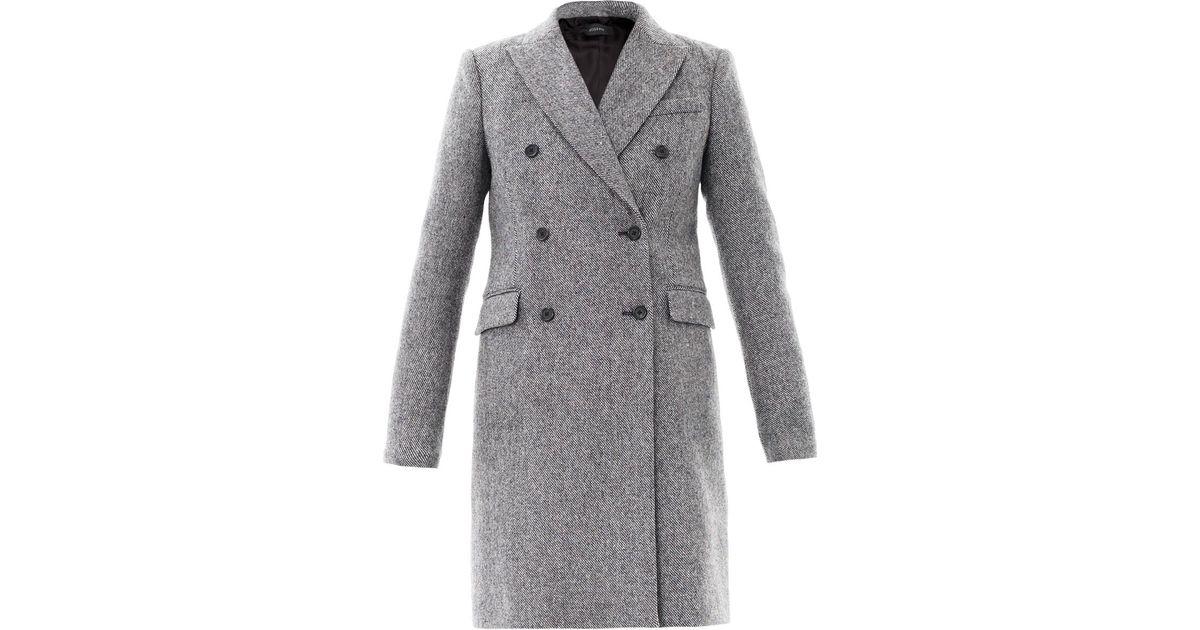 Lyst - JOSEPH Panda Tweed Wool Coat in Gray e60cc6538