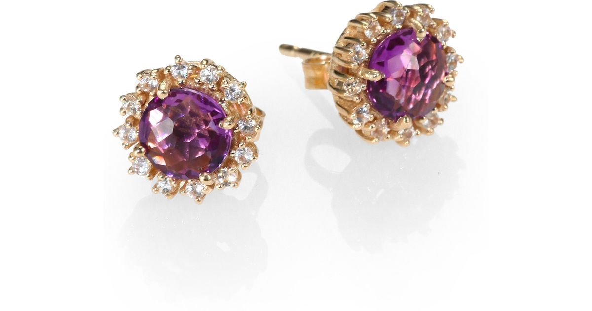 Kalan By Suzanne Amethyst White Shire 14k Yellow Gold Starburst Stud Earrings In Purple Lyst
