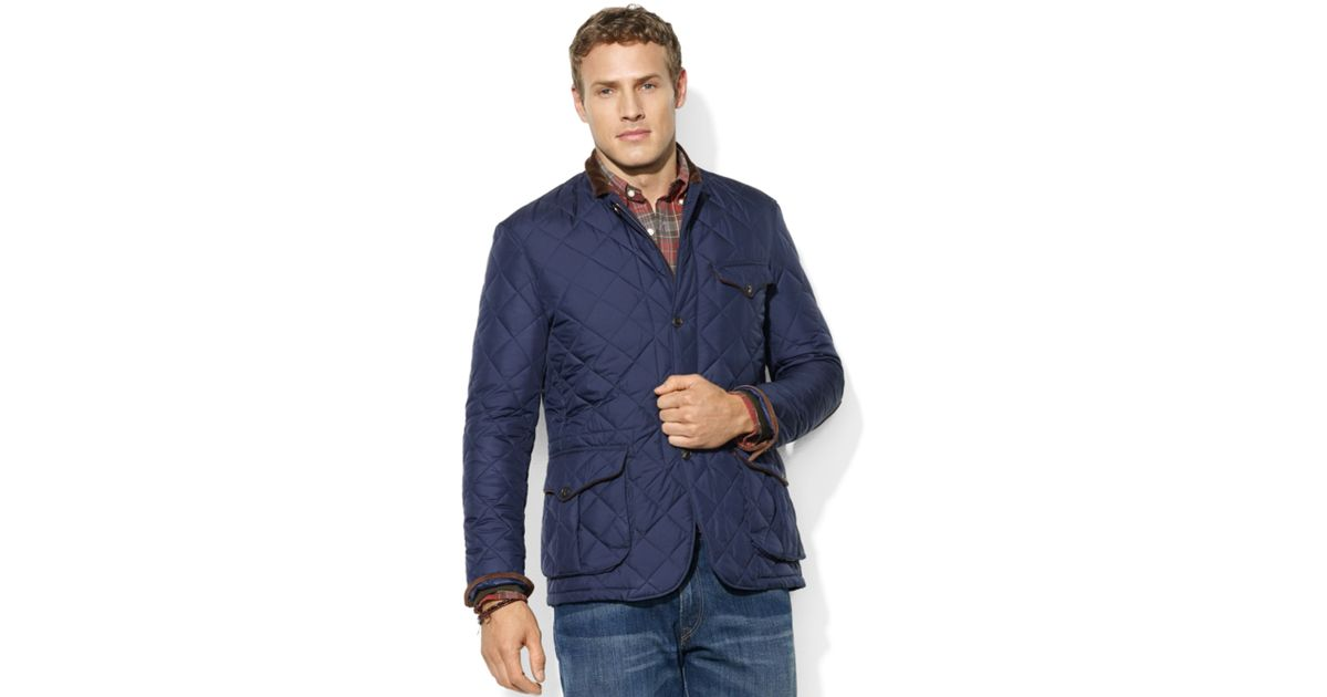 Lyst Ralph Lauren Cadwell Quilted Bomber Jacket In Blue For Men