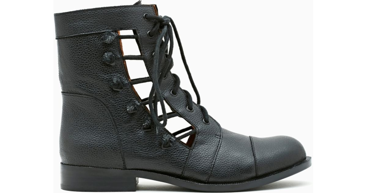 58fd2cad9cb9 Lyst - Nasty Gal Samantha Cutout Combat Boot in Black