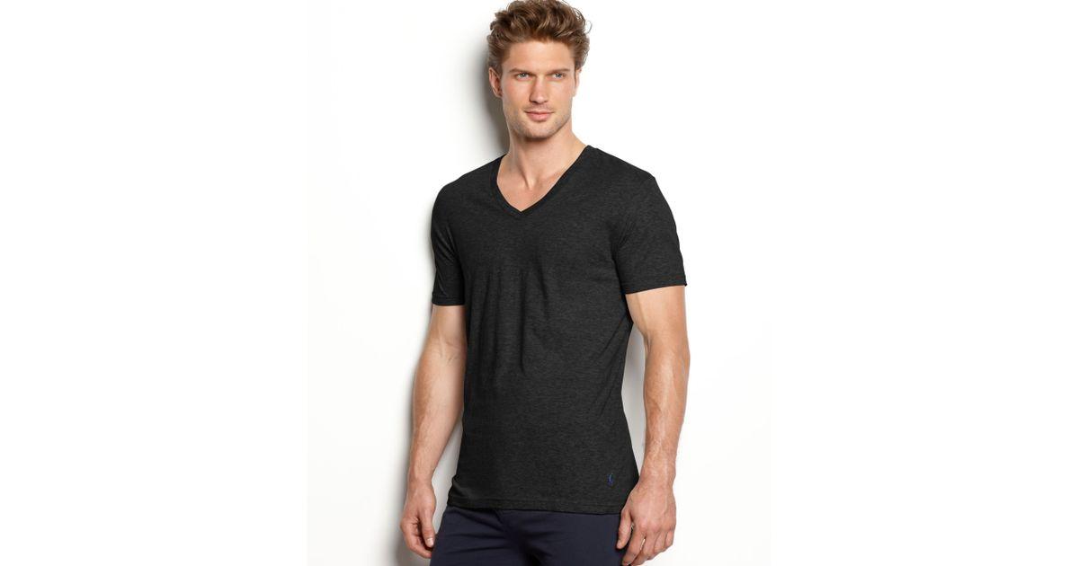 e3d64344190e Ralph Lauren Slim Fit Stretch V Neck T Shirt 2 Pack in Black for Men - Lyst
