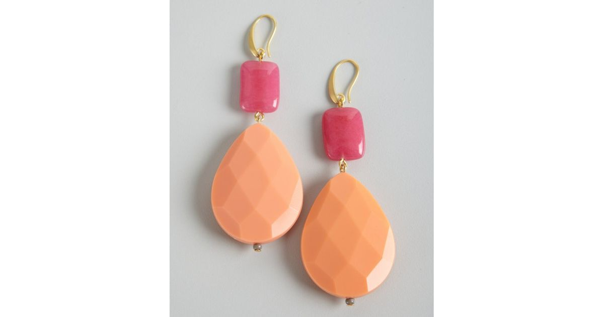 peach ip earrings coffee drop light