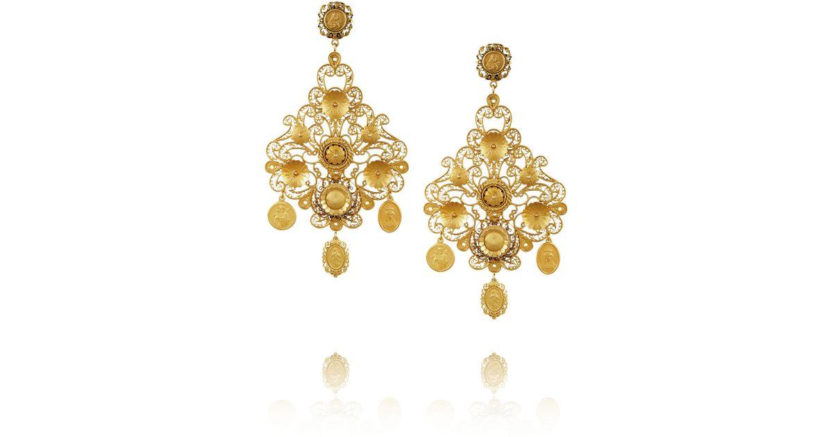 Lyst Dolce Gabbana Filigrana Gold Plated Chandelier Clip Earrings In Metallic