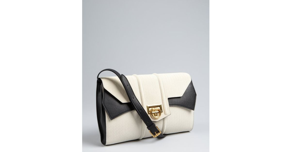 e51af3f8ff3e Lyst - Reece Hudson White and Black Basketwoven Leather Siren Lady Bag in  White