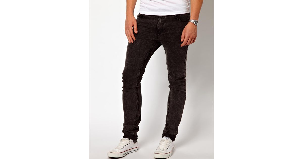 Cheap monday Jeans Tight Skinny Fit in Washed Black in Black for ...