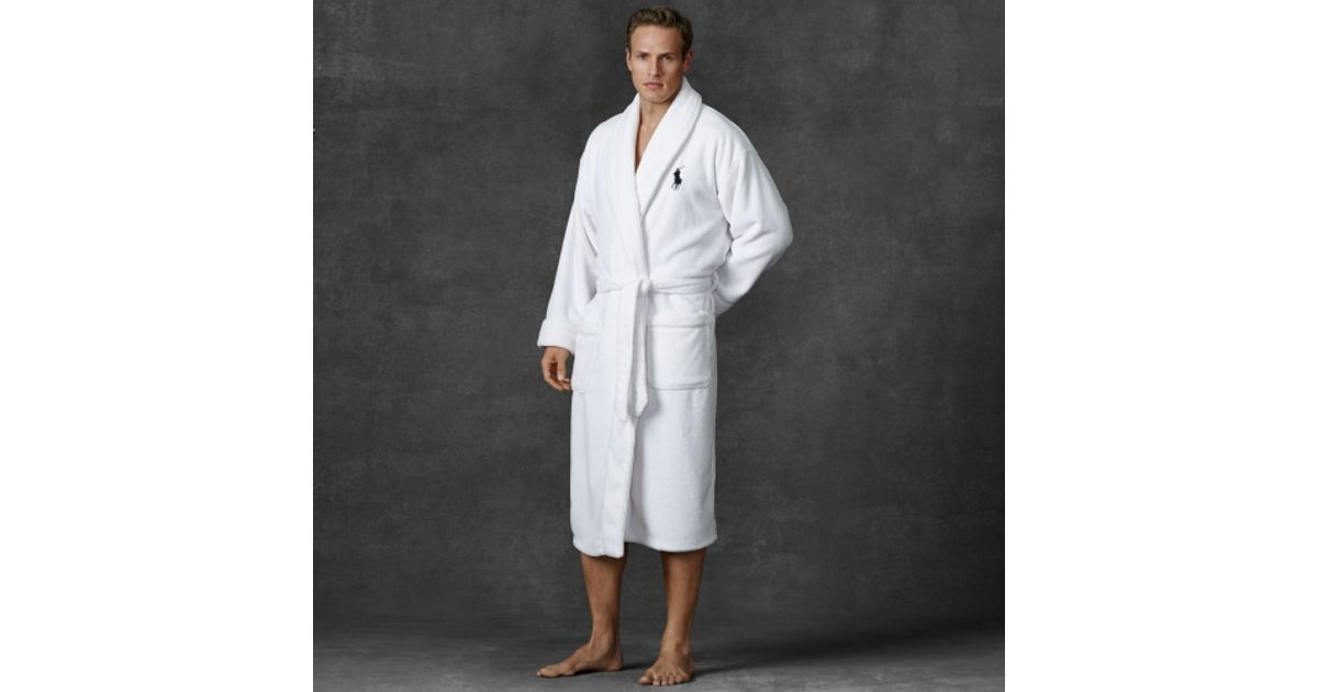 Lyst - Polo Ralph Lauren Chenille Shawl-collar Robe in White for Men ad47432be