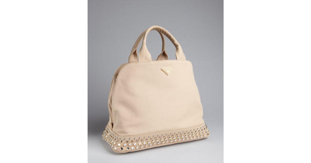 prada beige wallet - Prada Rope Canvas Jeweled Base Top Handle Bag in Beige (silver)   Lyst