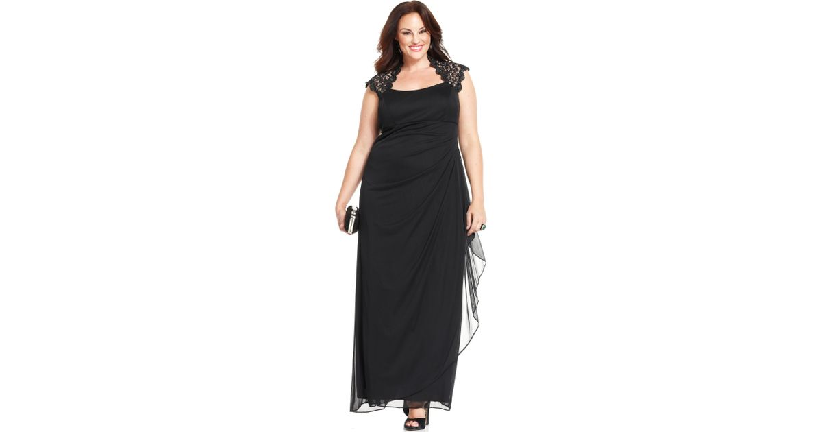 08c89f7b29d43 Lyst - Xscape Plus Size Dress Capsleeve Lace Gown in Black