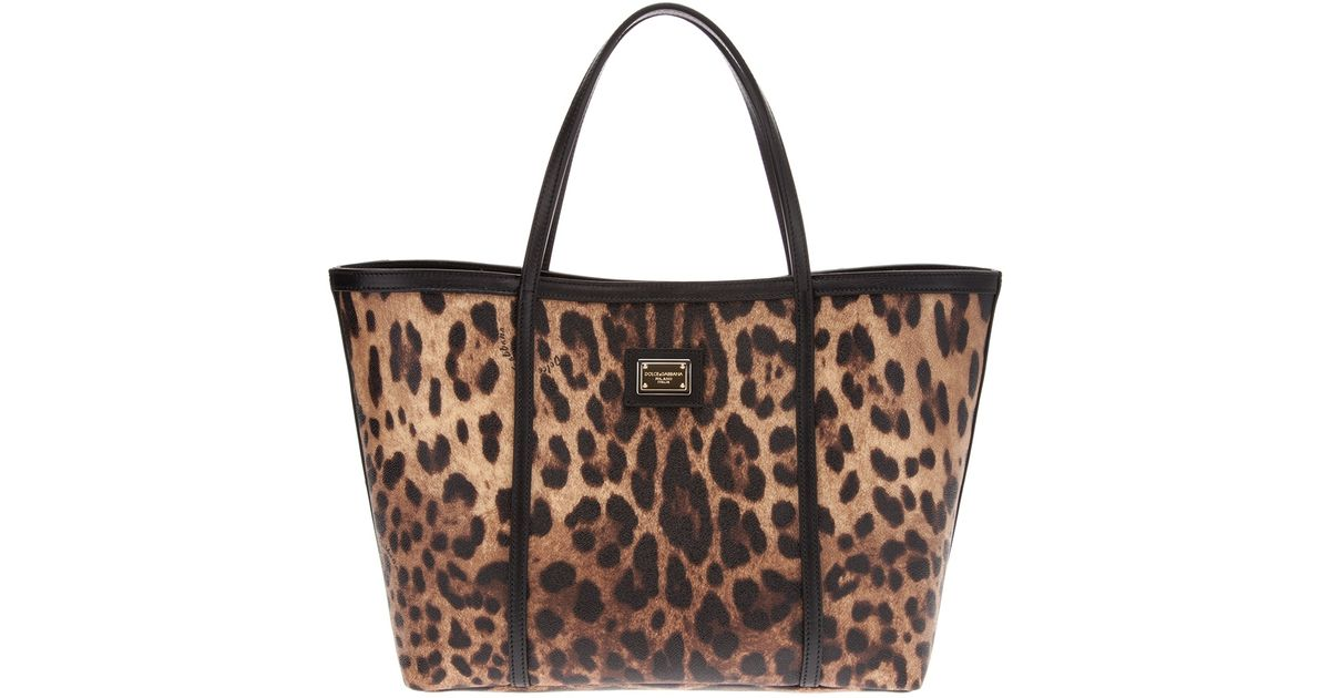 f8dcf94200a3 Lyst - Dolce   Gabbana Leopard Shopping Tote