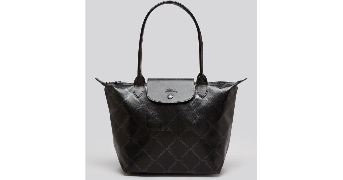 Lyst - Longchamp Lm Metal Medium Shoulder Tote in Black b3c1ac92c0a4d