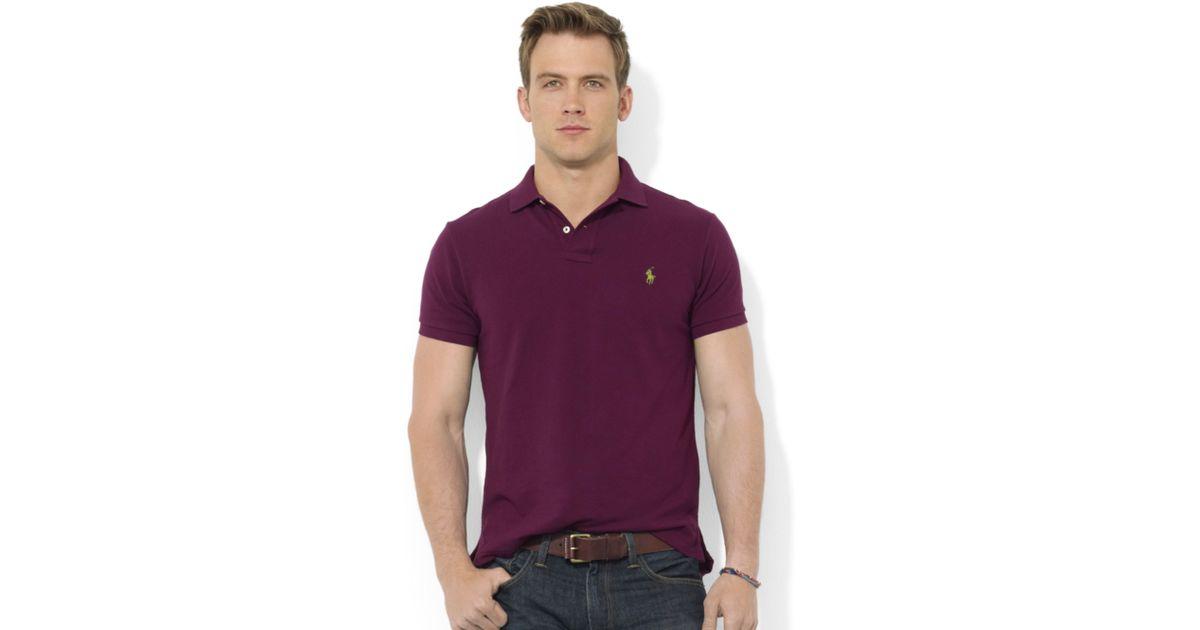 Ralph lauren Polo Customfit Shortsleeved Cotton Mesh Polo in Purple for Men | Lyst
