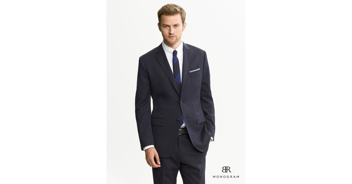 4e9dc62f9045 Banana Republic Br Monogram Dark Navy Wool Suit Jacket in Blue for Men -  Lyst
