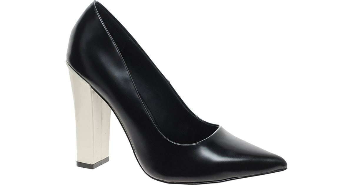 e24a3881f10 Lyst - KG by Kurt Geiger Calista Leather Pointed Block Heel Court Shoes in  Black