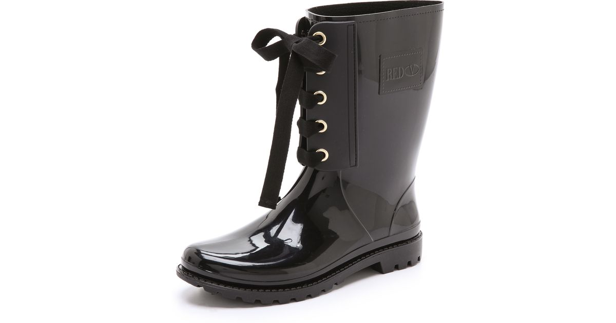 Red valentino Lace Up Rain Boots in Black | Lyst