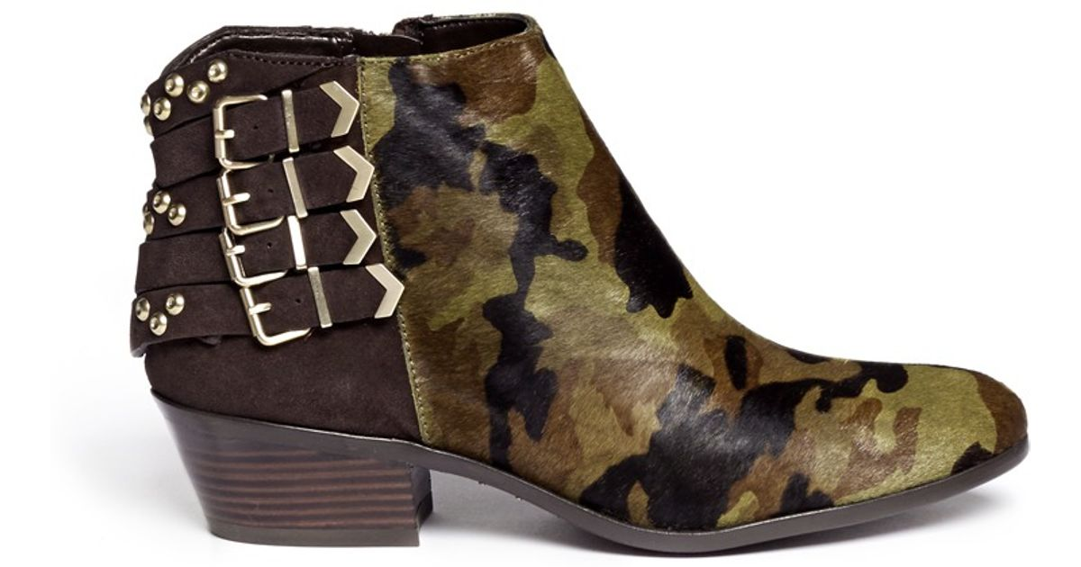 e900982d561 Lyst - Sam Edelman Penrose Camouflage And Stud Boots