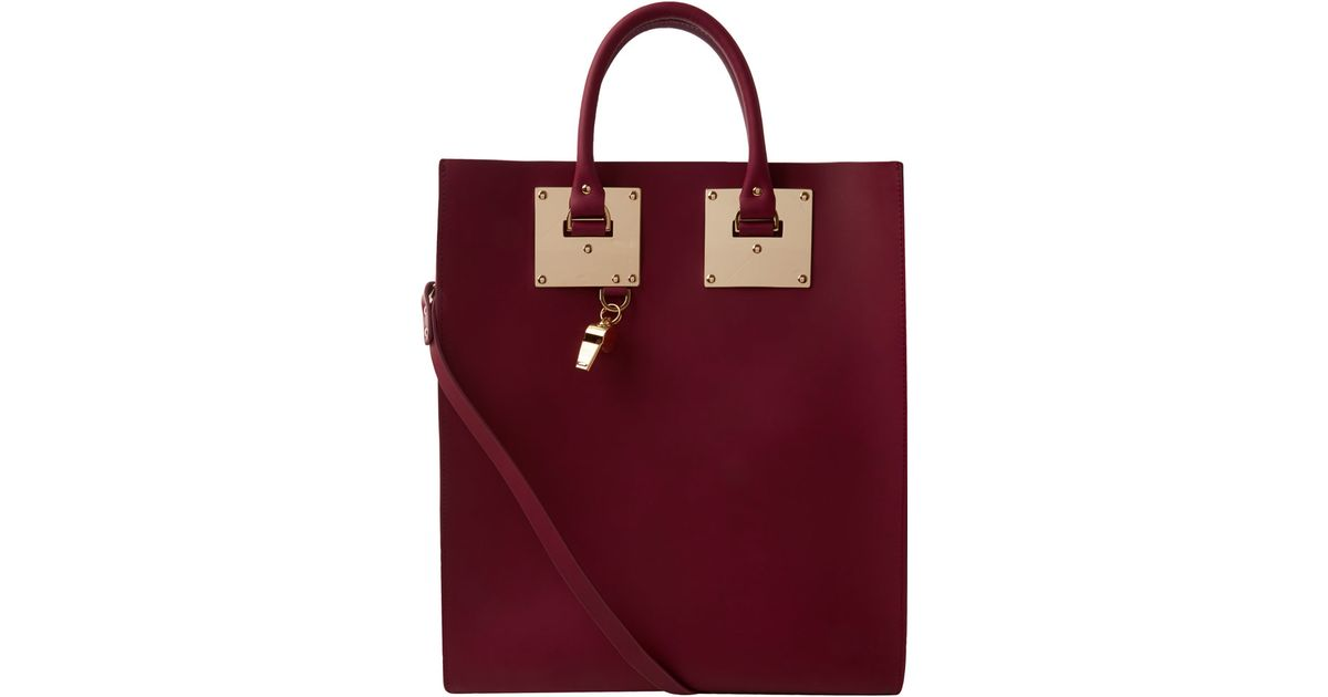 Sophie Hulme Burgundy Structured Leather Tote Bag in Red - Lyst 8ac6eacff8a34
