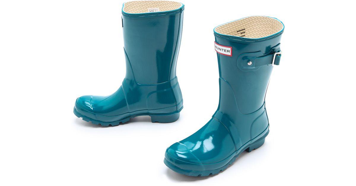 108684aba4e0 Lyst - HUNTER Original Short Gloss Rain Boots in Blue