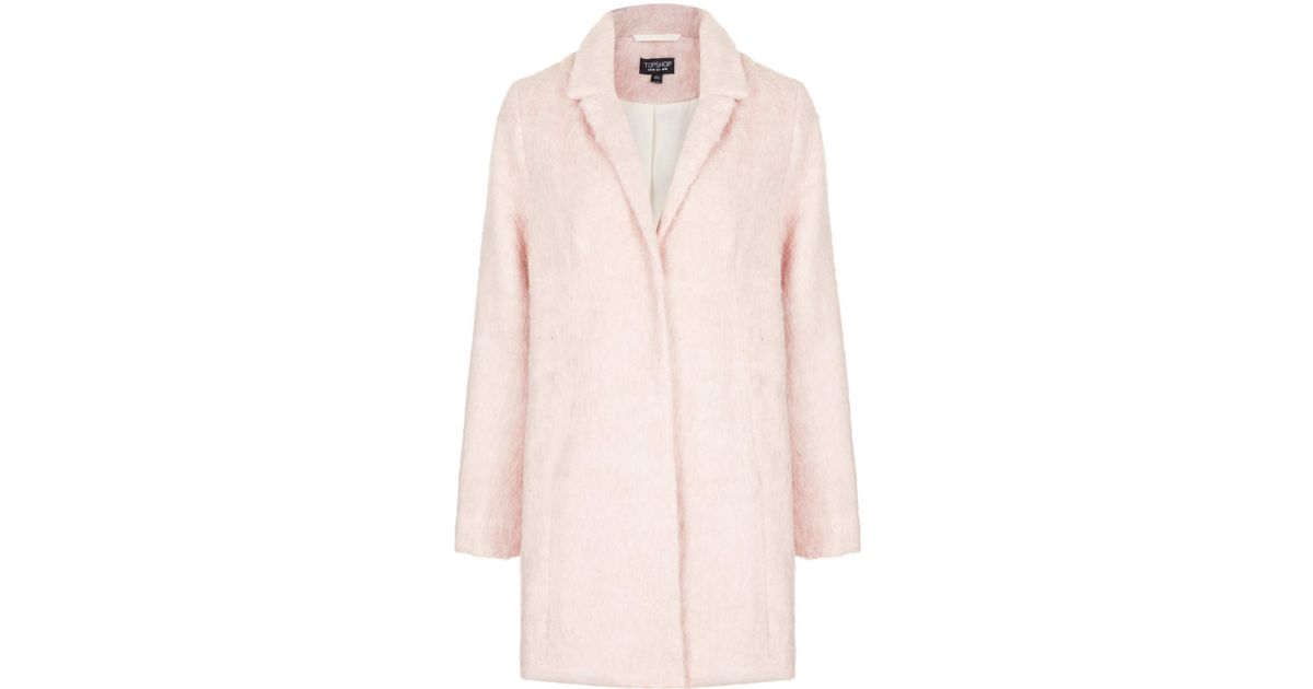 Topshop Fluffy Swing Boyfriend Coat in Pink | Lyst
