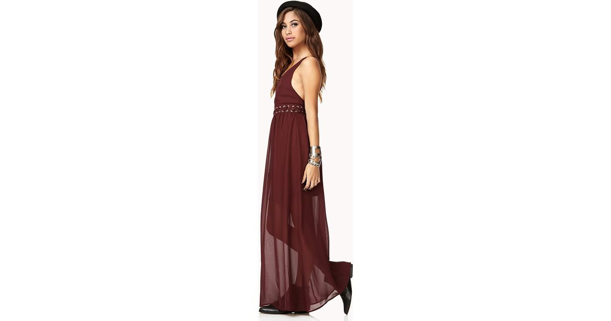 3ff7c4c75a Forever 21 Lace-up Cutout Maxi Dress in Red - Lyst