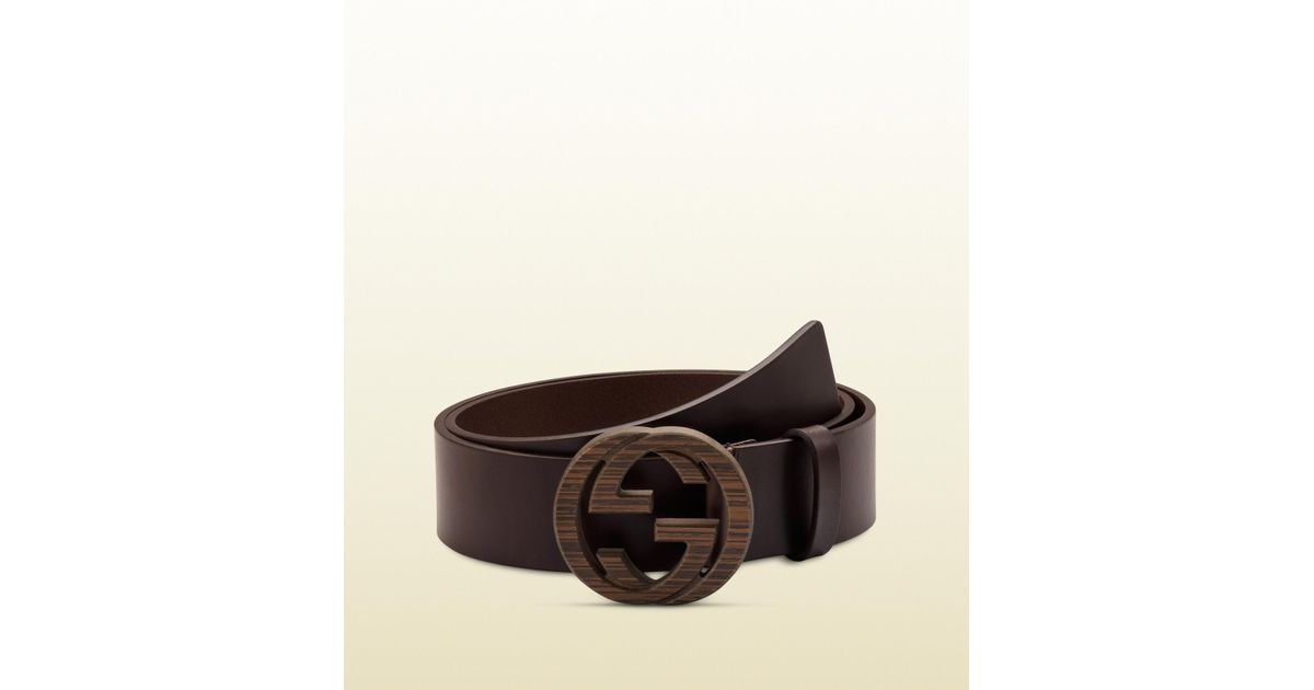 b92b4f25d86f1 Lyst - Gucci Brown Leather Belt With Interlocking G Buckle in Brown