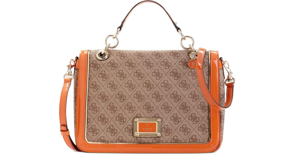 22ab7f1ccca Lyst - Guess Guess Handbag Reama Top Handle Flap Shoulder Bag in Orange