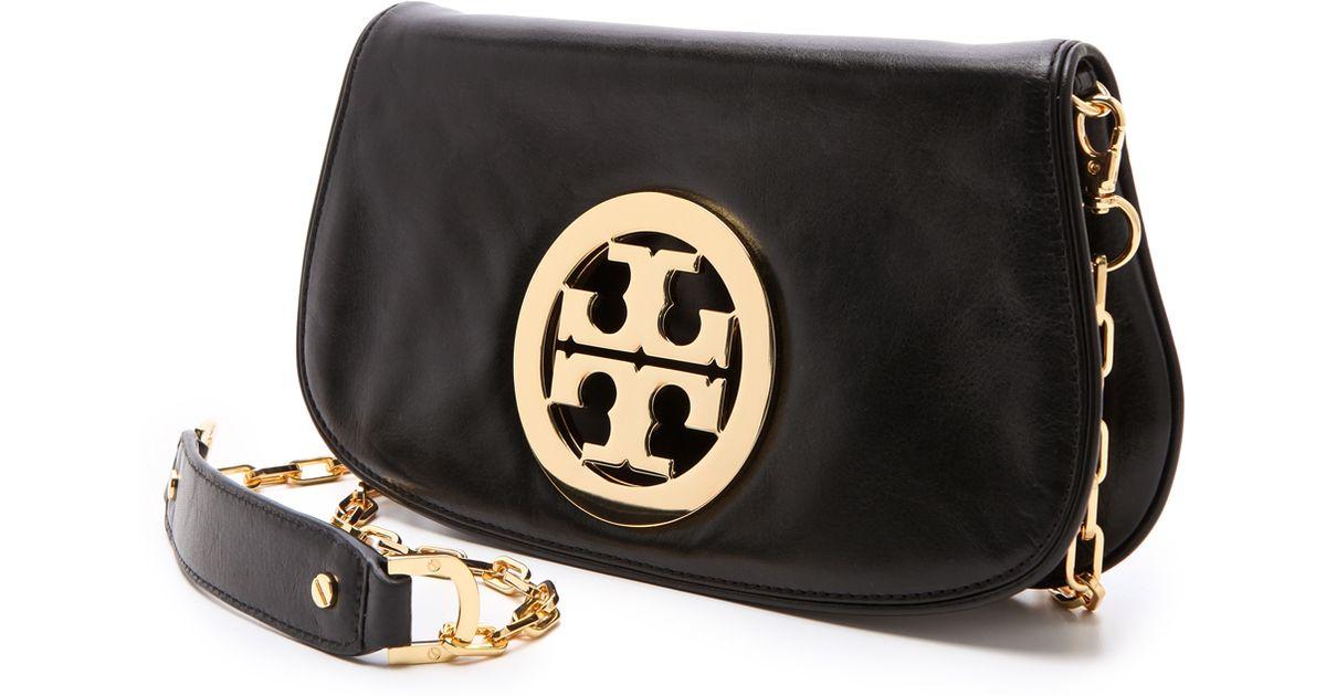 592837381c8 Lyst - Tory Burch Logo Clutch with Chain Blackgold in Black