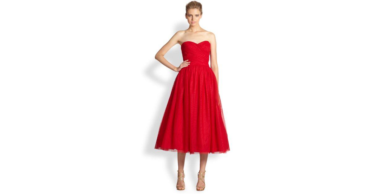 65b27c16badae ML Monique Lhuillier Strapless Tulle Ballerina Gown in Red - Lyst
