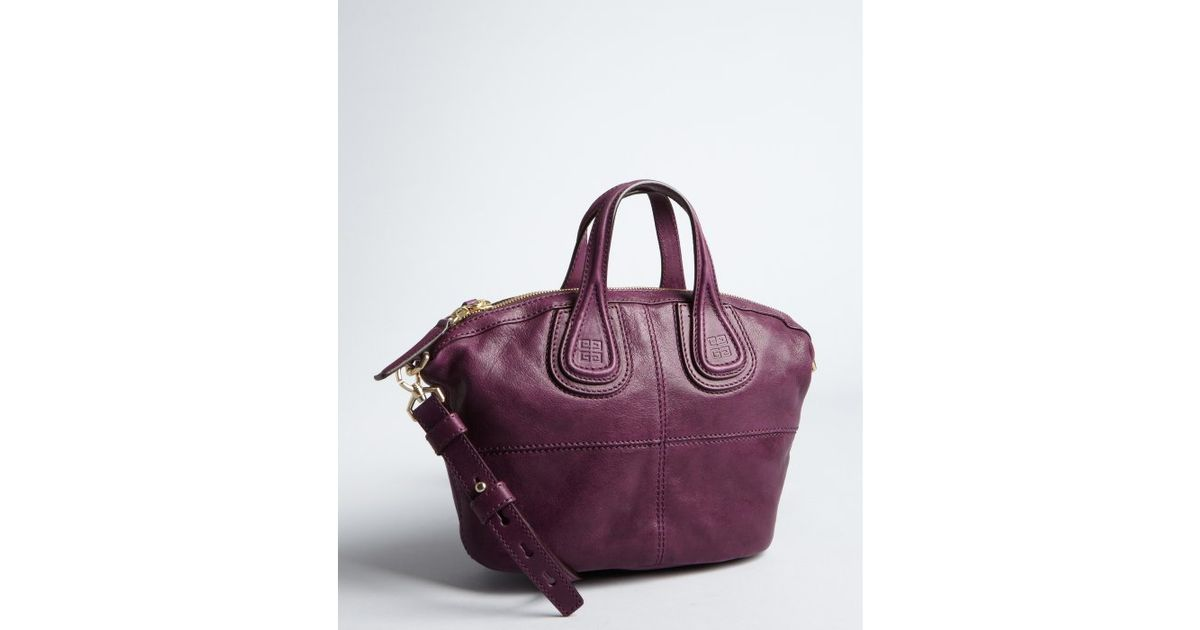 99aa52af35 Givenchy Dark Plum Leather Nightingale Mini Tote in Purple - Lyst