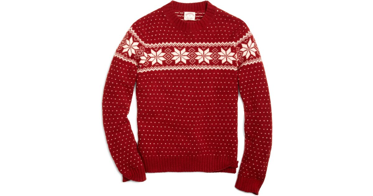 Brooks brothers Snowflake Fair Isle Crewneck Sweater in Red for ...