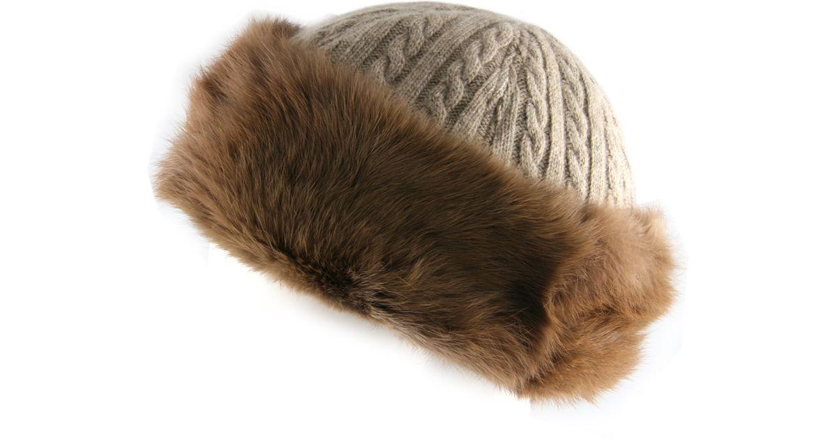 a9aca790c90 Black.co.uk Dusky Brown Cashmere Blend And Rabbit Fur Hat Description  Delivery   Returns Reviews in Brown - Lyst
