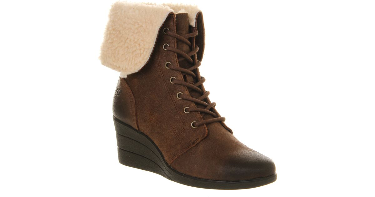 ugg zea shearling wedge lace up boots in brown chocolate