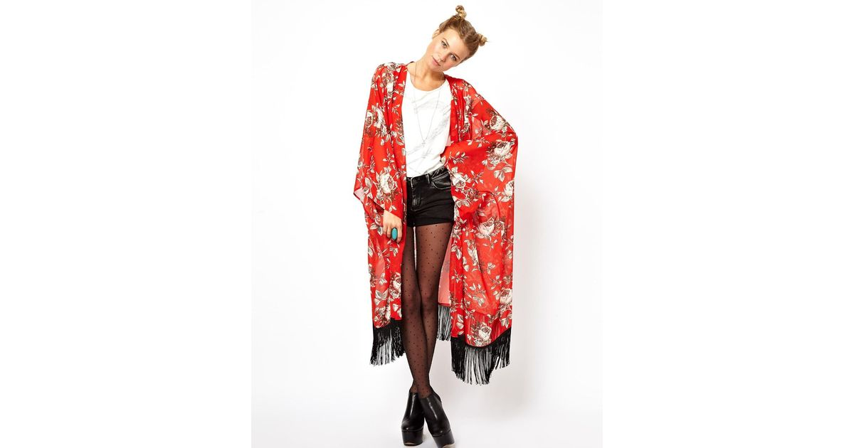Asos Reclaimed Vintage Red Floral Kimono in Red | Lyst