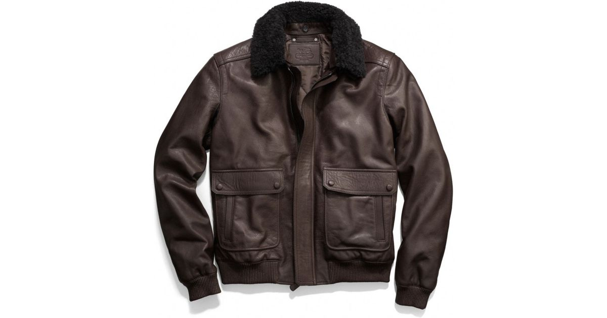 3f32fa1be6c ... shop lyst coach bleecker leather aviator jacket in brown for men a1a26  c9100