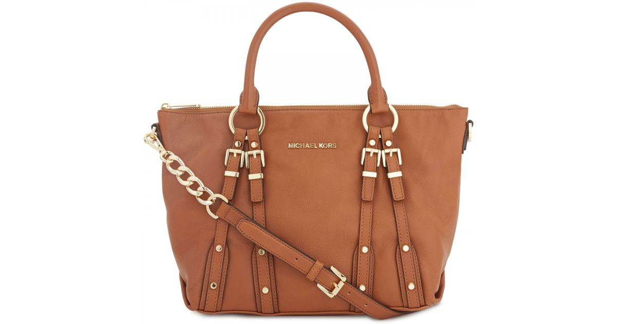 b2d6c7f689586d ... closeout michael kors leigh buckle embellished leather shoulder bag in brown  lyst 41b5a 9e426