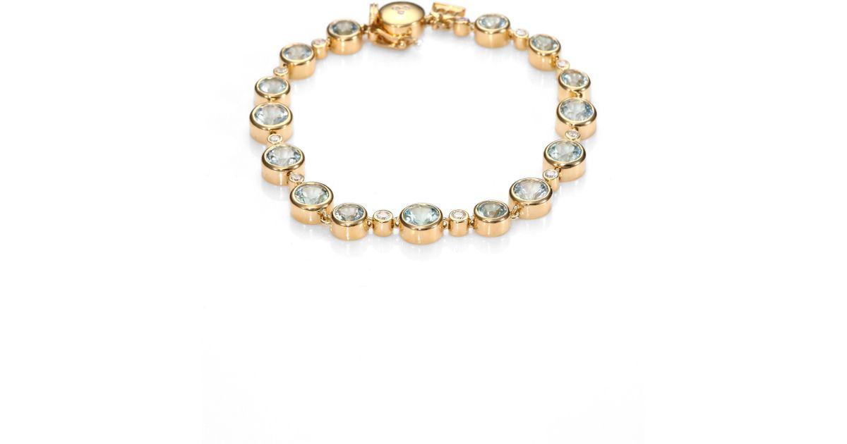 Lyst Temple St Clair Clic Color Aquamarine Diamond 18k Yellow Gold Bracelet In Metallic